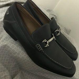 Aston Grey Navarro Black Leather Loafers